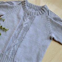 思远 婴幼儿棒针插肩袖镂空扭花长袖毛衣