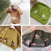 熱款老鼠躲貓貓開衫改版兒童棒針插肩衫、帽衫與背心