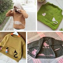 热款老鼠躲猫猫开衫改版儿童棒针插肩衫、帽衫与背心