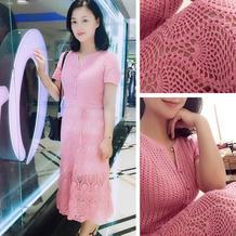 红粉佳人 带胸省设计的女士钩针短袖菠萝长裙