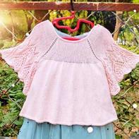 儿童棒针蕾丝蝙蝠袖小童裙