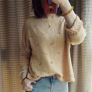 飞羽 蕾丝棉女士棒针羽毛花样轻薄小衫