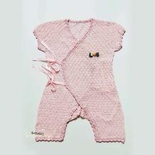 自编从上往下钩婴幼儿钩针开裆连体衣