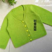 簡單款兒童棒針V領開衫毛衣