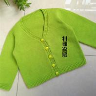 简单款儿童棒针V领开衫毛衣