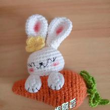 小白兔和最爱的胡萝卜 钩针兔子萝卜玩偶编织图解