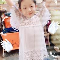 米兰&盛夏白鸽 甜美可爱儿童钩织结合套衫