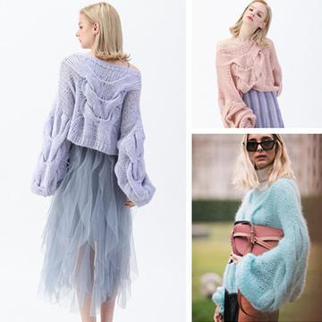 明星都愛穿的oversize風棒針馬海麻花燈籠袖毛衣