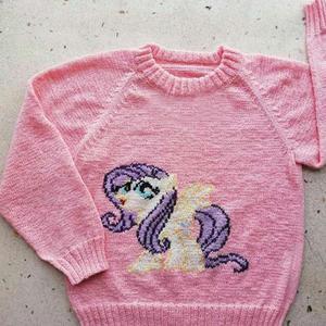 云素麻棉棒针编织儿童小马宝莉图案插肩毛衣