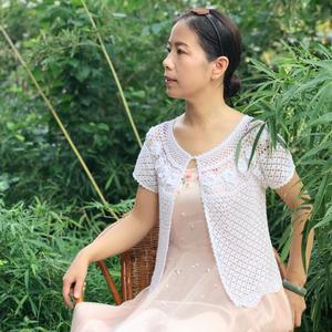 连枝玫瑰  从领口往下钩女士钩针蕾丝开衫