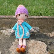 雪花娃娃 戴帽子钩针长腿娃娃编织图解