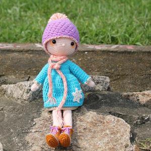 雪花娃娃 戴帽子鉤針長腿娃娃編織圖解