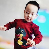 恐龙毛衣 男童棒针卡通图案套头毛衣