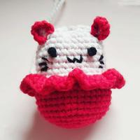 C位猫 毛线编织趣味钩针蛋袋编织图解
