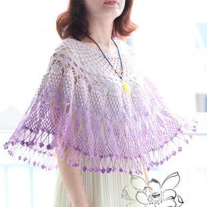 紫丁香 女士钩针葡萄流苏斗篷