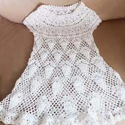白葡萄 云帛2兒童鉤針育克圓肩連衣裙