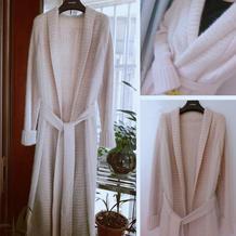 考拉绒羊绒合股编织超拉风的女士棒针系带风衣外套