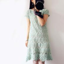 藤萝 明月星女士钩针菠萝连衣裙