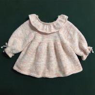 儿童棒针木耳边插肩袖娃娃衫