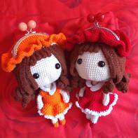 小红帽囗金包 钩针娃娃口金斜挎包