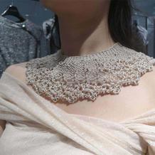 仙气珠饰女士棒针蕾丝装饰领