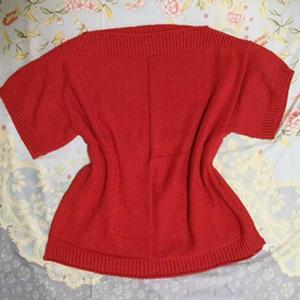 宝石红谷雨女士棒针短袖衫