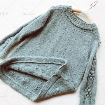 小丸子 2種織法仿INS款可鹽可甜兒童棒針套頭毛衣
