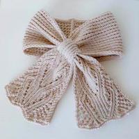 女神 法式童话风棒针蕾丝领结式小围巾