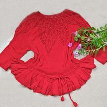 片片红叶情 女士棒针叶子花裙式八分袖套头衫