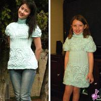 成人儿童都适合的棒针螺旋花连衣裙