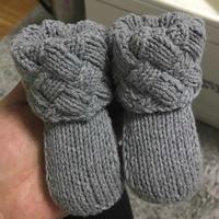 白桦编织宝宝棒针翻口靴
