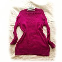简约大方女士棒针中长款羊绒衫织法