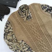 向暖 大雪編織男士棒針麻花背心