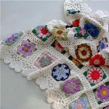 小情绪 4股棉钩针编织心形花边拼花毯