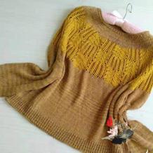 女士棒针棕榈花套头毛衣