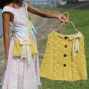 甜美风粗针织儿童棒针裙子与包包