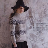 时尚百搭女士棒针提花插肩七分袖羊毛衫