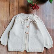 温柔而恬静谷雨编织儿童棒针叶子开衫