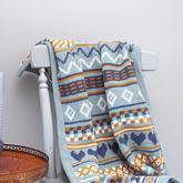拼色编织几何图案钩针提花毯子编织图样