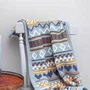 拼色編織幾何圖案鉤針提花毯子編織圖樣