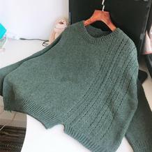 无羁 女士棒针不规则宽松休闲毛衣