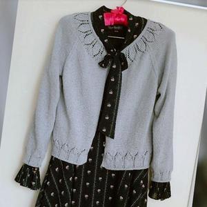 喵夫人谷雨浅灰女士棒针插肩长袖短开衫