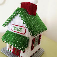 毛线DIY立体绣房屋纸巾盒