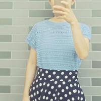 简单好织女士棒针蕾丝短袖衫