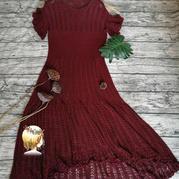 红酒 前短后长女士棒针蝴蝶袖蕾丝长裙