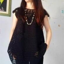蕾丝双股编织女士钩针加长版黑色小扇