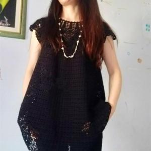 蕾絲雙股編織女士鉤針加長版黑色小扇