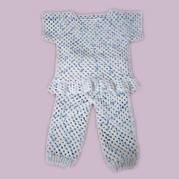 钩针祖母方格花样宝宝上衣裤子套装