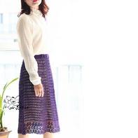 紫罗兰 淑女风钩针春夏及膝半裙