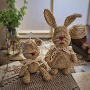 玉兔共嬋娟  鉤針兔子玩偶作品秀與圖解